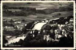 Postcard Diekirch Luxemburg, Panorama et la Sure, Ville