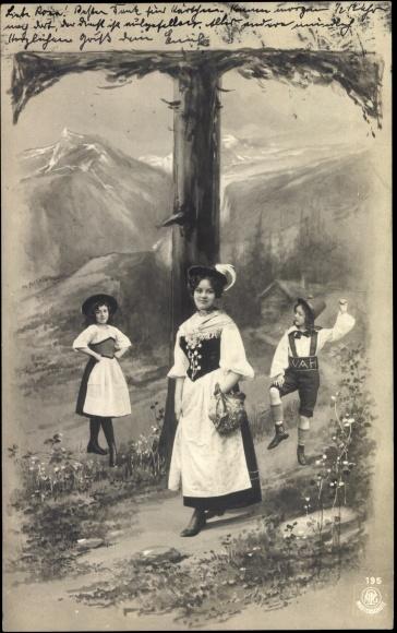 Buchstaben ak t traditionelle trachten alpen npg 195