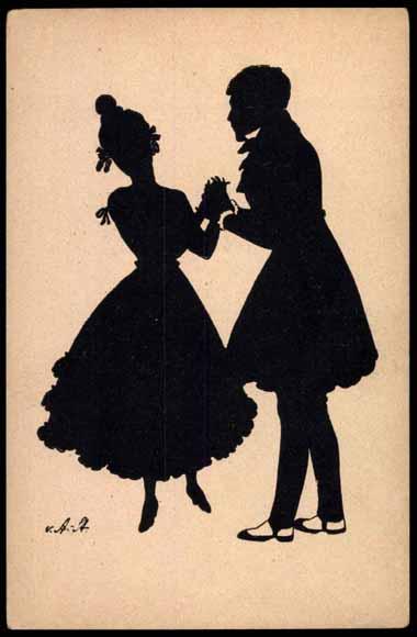Scherenschnitt Ak Mann Und Frau