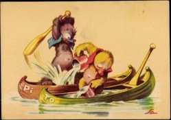 Künstler Ak Salac, A. L., Streit beim Kanu Paddeln