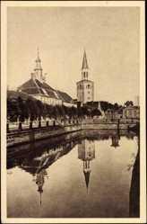 Postcard Mitau Lettland, Rathaus und Trinitatiskirche