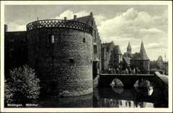 Postcard Büdingen Hessen, Mühltor, Brücke, Besucher, Turm