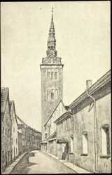 Postcard Tallinn Estland, Ritterstraße mit St Nikolaikirche, Glockenturm