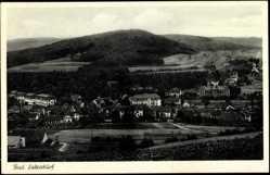 Postcard Bad Salzschlirf Hessen, Gesamtansicht der Stadt, Berge
