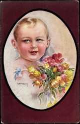 Passepartout Künstler Ak Usabal, Luis, Kleinkind, Junge, Blumen