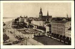 Postcard Riga Lettland, der Dünakai, Daugavmala, Teilansicht der Stadt