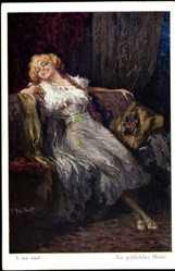 Künstler Ak T. Joh. Adolf, Ein gefährliches Mädel, Verführerische Frau
