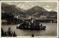 Postcard Bled Oberkrain Slowenien, Veldeser See, Berge, Wasser