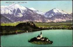 Postcard Bled am Bleder See Slowenien, Marienkirche auf kleiner Insel mit Ortschaft