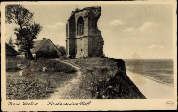 Postcard Seebad Horst Niechorze Pommern, Kirchenruine Hoff