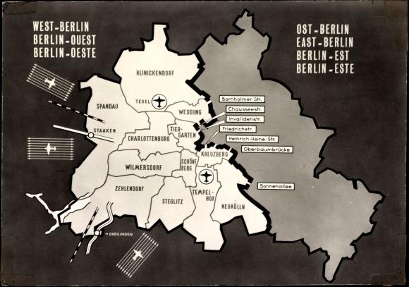 landkarten ansichtskarte postkarte berlin west ost. Black Bedroom Furniture Sets. Home Design Ideas