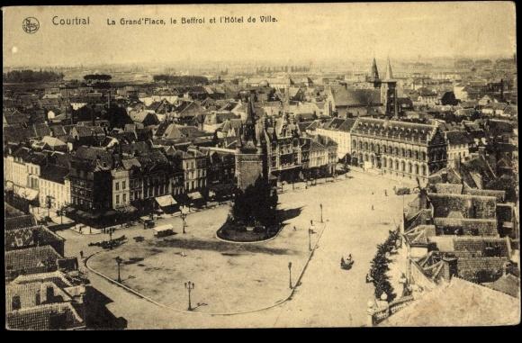 Postcard courtrai westflandern la grand 39 place le for Courtrai belgium