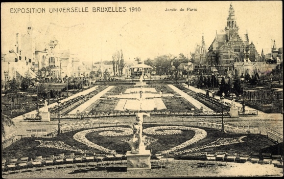 Postcard bruxelles exposition universelle 1910 jardin for Plus grand jardin de paris