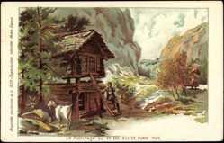 Künstler Litho Weltausstellung Paris 1900, Paturage au Village Suisse