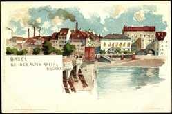 Künstler Litho Voellmy, F., Basel Schweiz, Bei der alten Rheinbrücke
