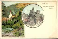 Künstler Litho Zetsche, E., Senftenberg a.d. Krems Niederösterreich, Burgruine