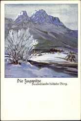 Künstler Ak Amtsberg Otto, Die Zugspitze, Deutschlands höchster Berg