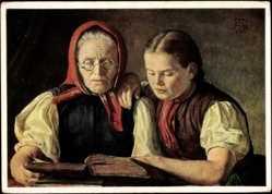 Künstler Ak Hans Thoma, des Künstlers Mutter und seine Schwester, Lesen