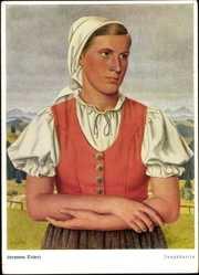 Künstler Ak Tiebert, Hermann, Jungbäuerin, Tracht