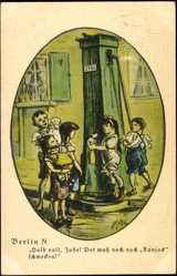 Künstler Ak Zille, H., Berlin, Kinder, Wasserpumpe, Konjack