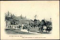 Cp Paris, Weltausstellung 1900, Indes Neerlandaises et Jardin du Trocadero