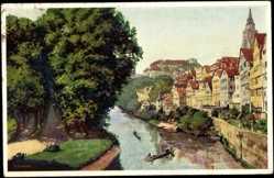 Künstler Ak Durst, J., Tübingen, Blick auf den Neckar und Platanenallee