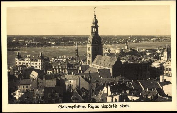Foto Ak Riga Lettland, Galvaspilsetas, visparejs skats, Stadtansicht