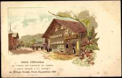 Lithographie Weltausstellung 1900 Paris, Châlet d'Effretikon, Adolf Grieder