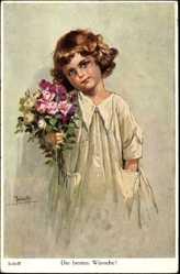 Künstler Ak Jodolfi Adolf, Die besten Wünsche, Kind mit Blumenstrauß