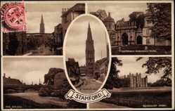 Postcard Stamford East Midlands, Burghley Park, Bridge, High Street