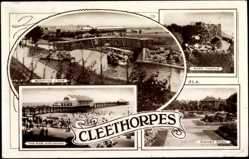 Postcard Cleethorpes East Midlands, Sidney Park, Ross Castle, Boating Lake, Pier,Sands
