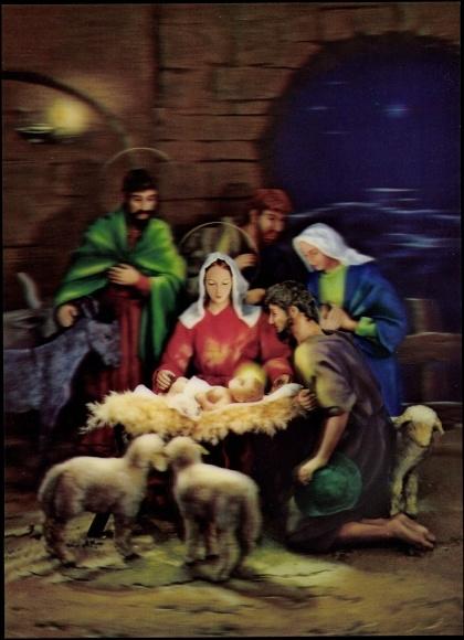 3d ansichtskarte  postkarte weihnachten geburt jesus
