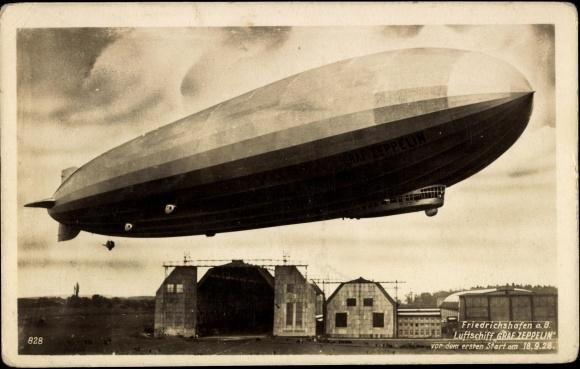 ansichtskarte postkarte friedrichshafen bodensee flugplatz luftschiff graf zeppel. Black Bedroom Furniture Sets. Home Design Ideas