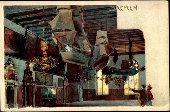 Künstler Litho Kley, Heinrich, Bremen, Modellsegelschiffe, Ausstellungshalle