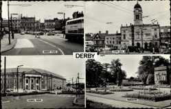 Postcard Derby East Midlands, Market Place, Down Hall, Council House, Markeaton