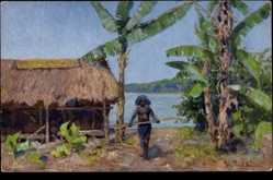 Künstler Ak Müller, Peter Paul, Papua Neuguinea, Eingeborener, Strohhütte