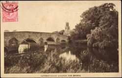 Postcard Fotheringhay Herfortshire East Midlands, Church and Bridge