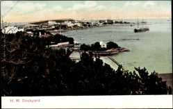 Ansichtskarte / Postkarte Bermuda, general view of the port with H.M. Dockyard