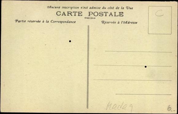 Derrière Carte postale Majunga Madagaskar, Femme Sakalava, Coiffure modele