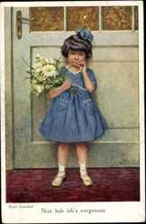 Künstler Ak Gnischaf, Ruab, Nun hab ich's vergessen, Mädchen in blauem Kleid
