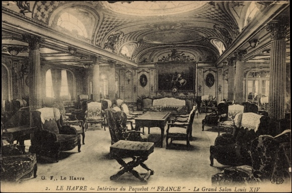 Postcard le havre interieur du paquebot france le for Interieur french