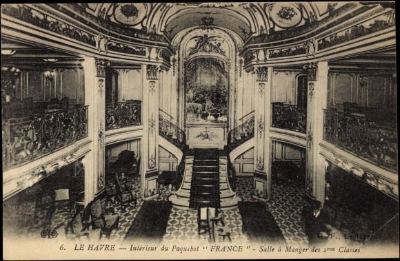 Carte postale le havre interieur du paquebot france for Interieur francais