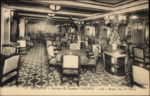 postcard le havre interieur du paquebot france salle. Black Bedroom Furniture Sets. Home Design Ideas