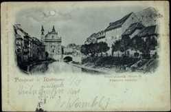 Mondschein Ak Ljubljana Slowenien, Partie am Fluss, Teilansicht der Stadt