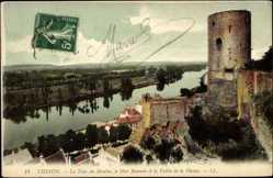 Cp Chinon Indre et Loire, Tour du Moulin, le Mur Romain, la Vallée de la Vienne