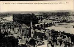 Cp Chinon Indre et Loire, vue générale du Quartier et Eglise St. Maurice