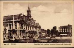 Cp Tours en Indre et Loire, Hotel de Ville, et Boulevard Heurteloup