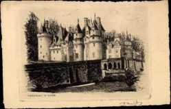 Künstler Ak Robin, T., Usse en Indre et Loire, Vue du chateau