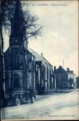 Cp Badecon en Indre, L'Eglise et la Place, Ansicht der Kirche, Straßenseite