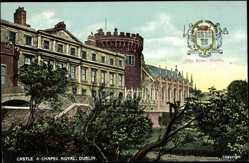 Postcard Dublin Irland, general view of the Castle and Chapel Royal, City Arms
